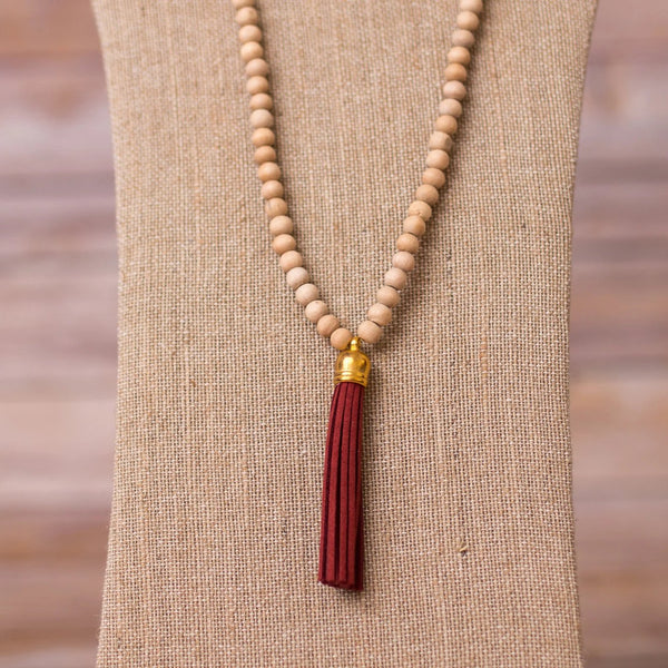 Beaded Necklace with Tassel Pendant - Swara Jewelry