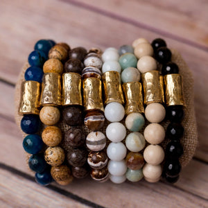Gemstone Stretch Bracelet with Large Nugget Spacer - Swara Jewelry