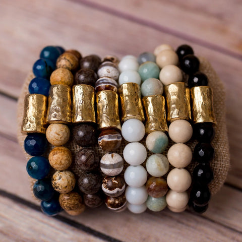Beaded Stretch Bracelet Natural Gemstones Large Nugget Spacer - Swara Jewelry
