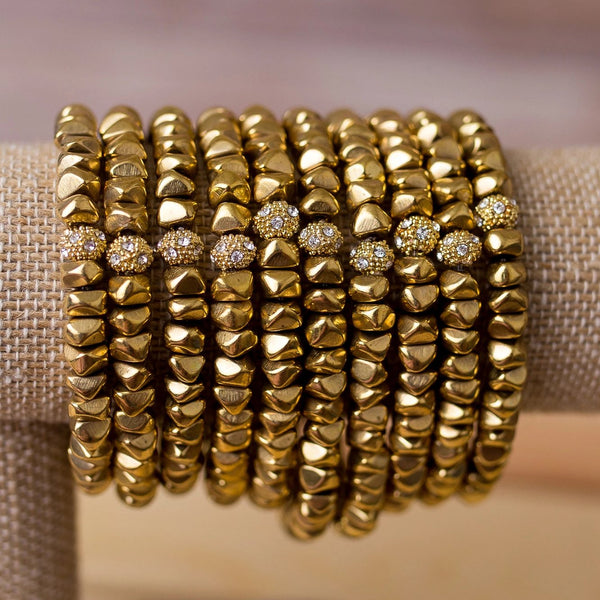 Brass Nugget Stretch Bracelet-Handmade - Swara Jewelry