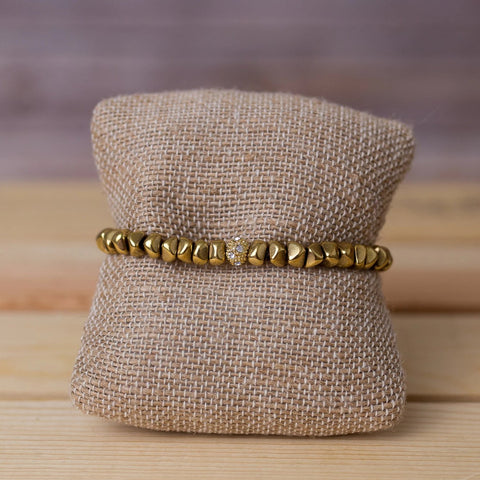 Brass Nugget Stretch Bracelet - Swara Jewelry