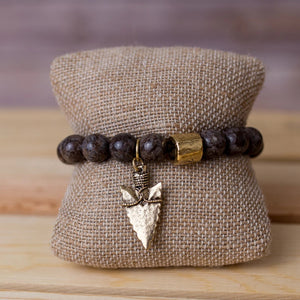 Gemstone Stretch Bracelet with Arrowhead Pendant - Swara Jewelry