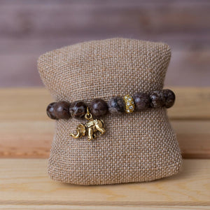 Gemstone Stretch Bracelet with Elephant Pendant - Swara Jewelry