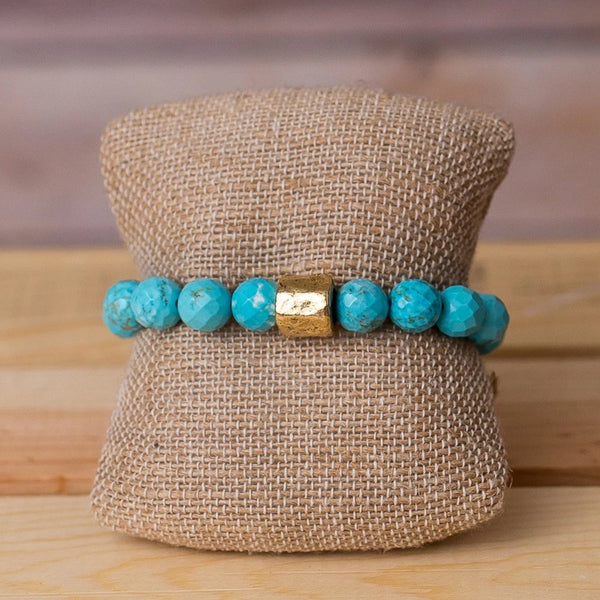 Gemstone Stretch Bracelet with Nugget Spacer - Swara Jewelry