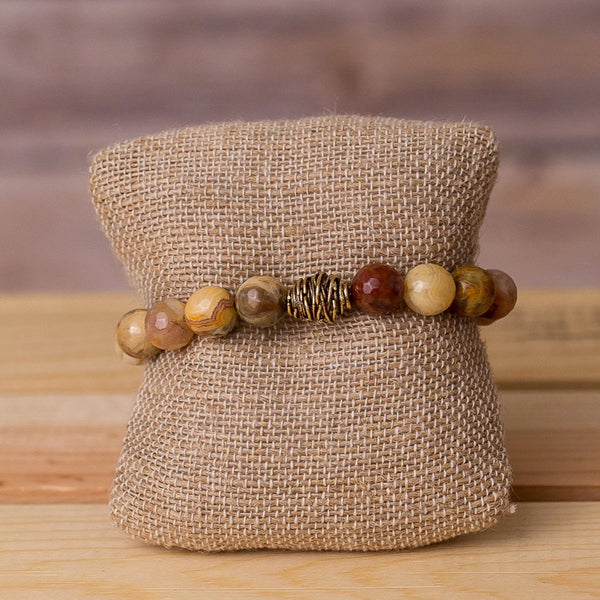 Gemstone Stretch Bracelet with Beehive Spacer