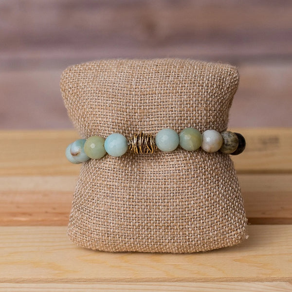 Gemstone Stretch Bracelet with Beehive Spacer - Swara Jewelry