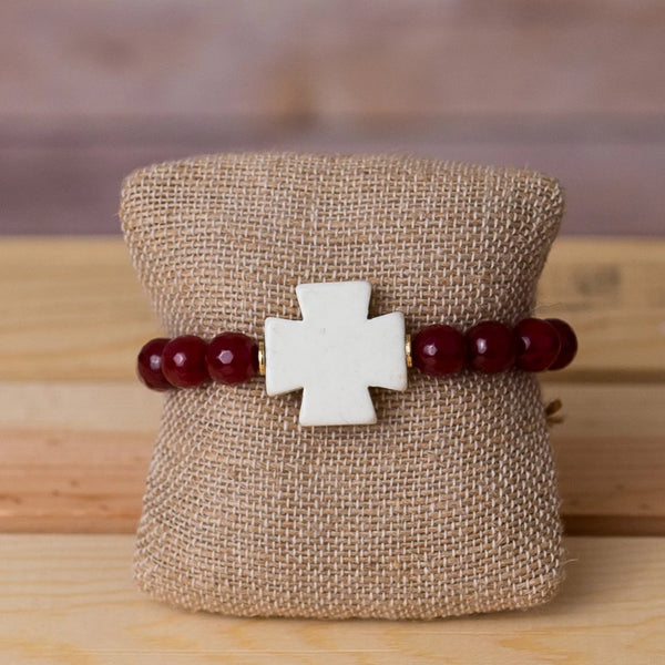 Gemstone Stretch Bracelet with Cross