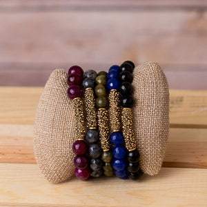 Gemstone Stretch Bracelet with Bar Spacer - Swara Jewelry