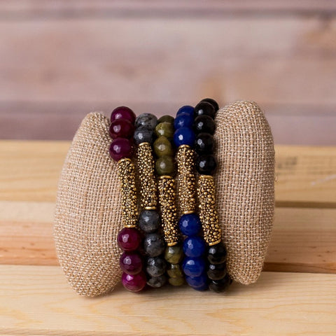 Gemstone Stretch Bracelet with Bar Spacer
