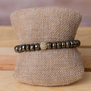 Pyrite Rondelle Stretch Bracelet - Swara Jewelry
