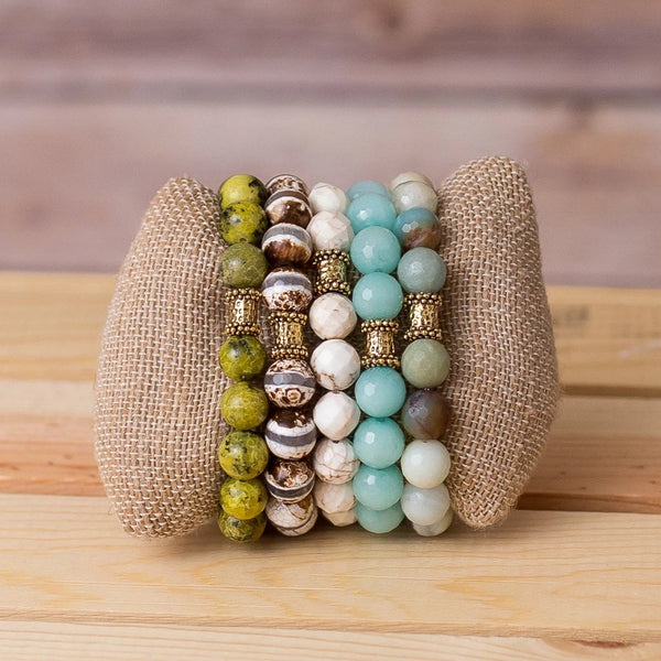 Gemstone Stretch Bracelet with Bar Bell Spacer