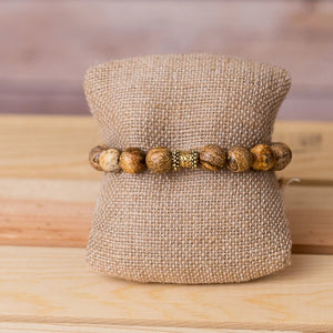 Gemstone Stretch Bracelet with Bar Bell Spacer - Swara Jewelry