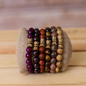 Gemstone Stretch Bracelet with Crenelated Spacer - Swara Jewelry