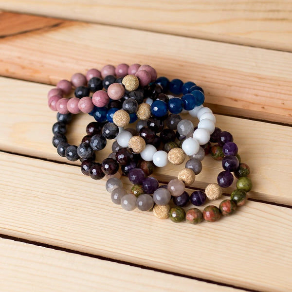 Gemstone Stretch Bracelet with Gold Filled Stardust Spacer