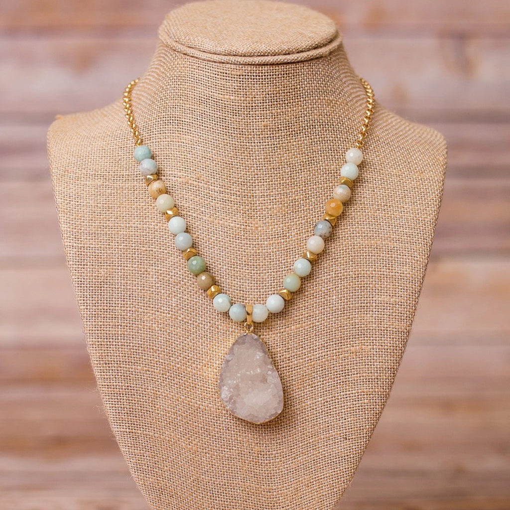 Gold Plated Necklace with Amazonite and Druzy