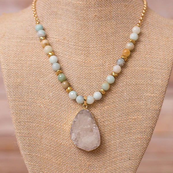 Gold Plated Necklace with Amazonite and Druzy - Swara Jewelry