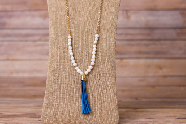 Tassel Necklace with Gemstones