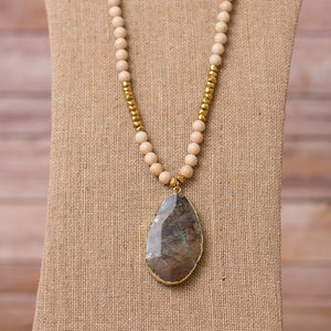 Fossil Necklace with Rhyolite Pendant - Swara Jewelry