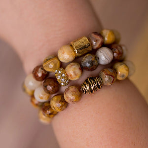 Neutral Agate Bracelet Stack - Swara Jewelry