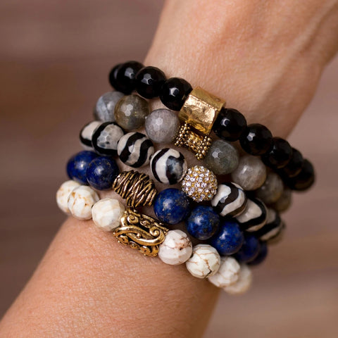 Blue and Black Bracelet Stack