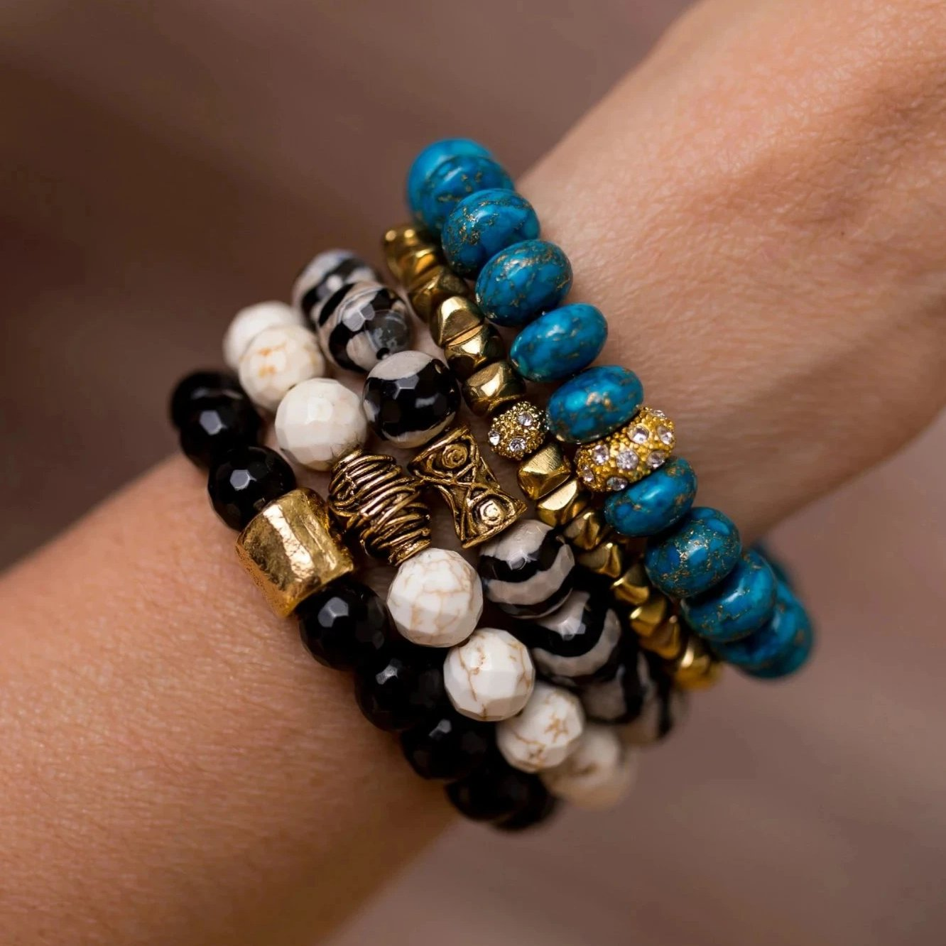 Black and Turquoise Bracelet Stack - Swara Jewelry
