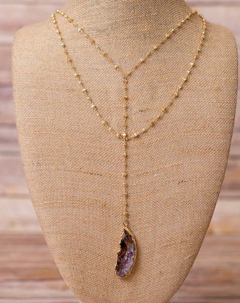 Double Layer Y Necklace with Geode Pendant - Swara Jewelry