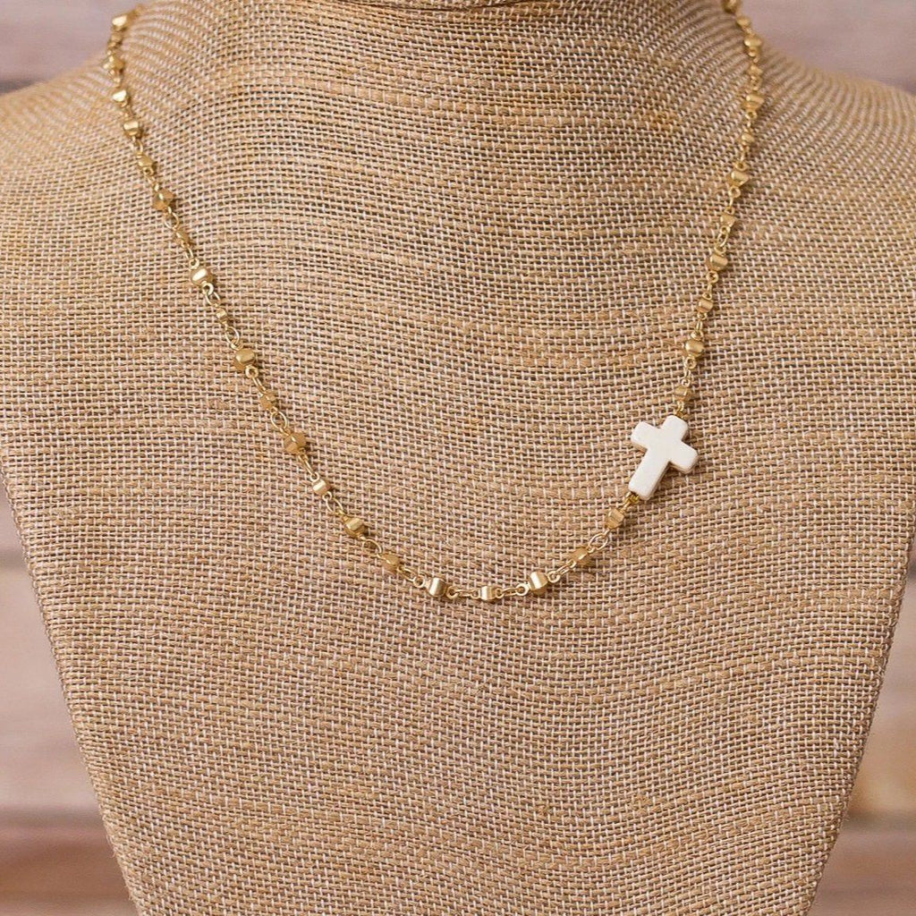 Gold Plated Necklace with Cross Pendant