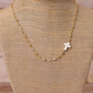 Cross Pendant on Gold Plated Necklace - Handmade