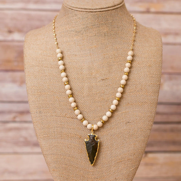 Gold Plated Chain with Natural Gemstones and Arrowhead Pendant
