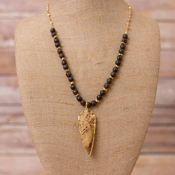 Gold Plated Chain with Natural Gemstones and Arrowhead Pendant - Swara Jewelry