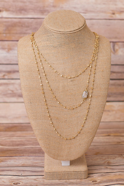 Triple Strand Layered Necklace with Druzy Pendant - Swara Jewelry