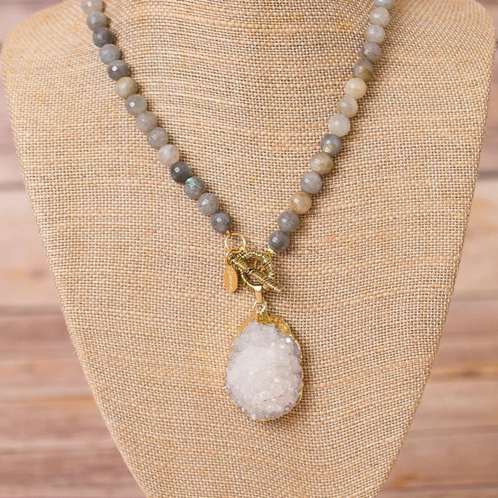 Fully Beaded Labradorite Necklace with Druzy Pendant