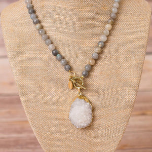 Fully Beaded Labradorite Necklace with Druzy Pendant - Swara Jewelry
