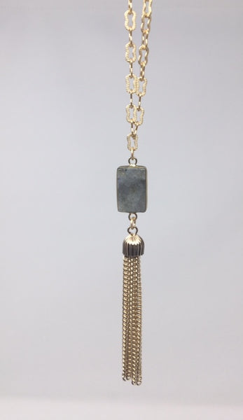 Gold Plated Necklace with Tassel and Labradorite Pendant - Swara Jewelry