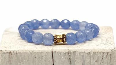 Handmade Light Blue Agate Bracelet with Barbell Spacer - Swara Jewelry