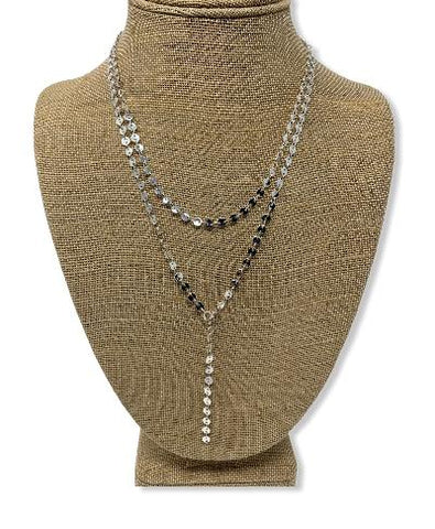 Silver Double Layer Lariat Necklace - Handmade