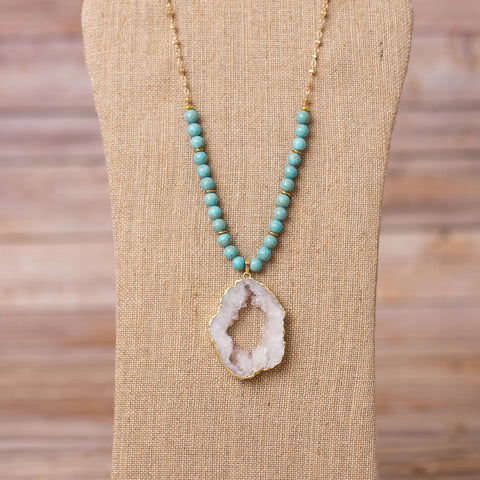 Necklace with Large Druzy Pendant - Swara Jewelry