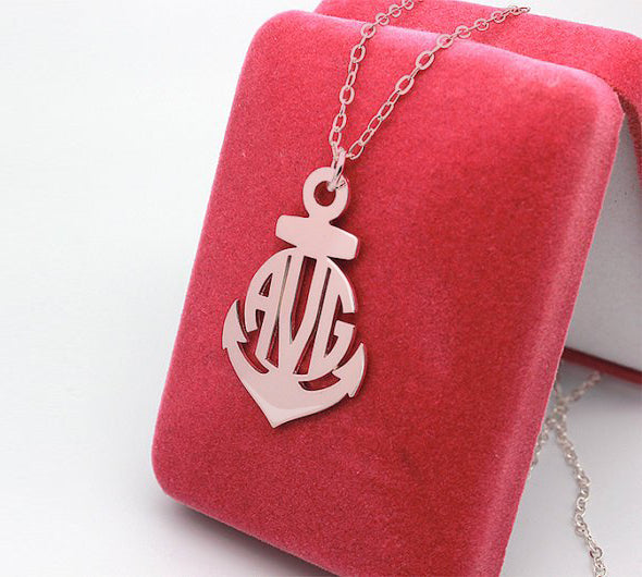 Personalized Initials Necklace Anchor monogram Jewelry 925 Sterling Silver Birthday Gift Favetsy - Favetsy
