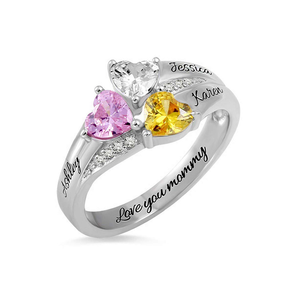 Personalized Rings with 3 Birthstones and 3 Names  Sterling Silver Names Engraved Family Promise Gift Favetsy - Favetsy
