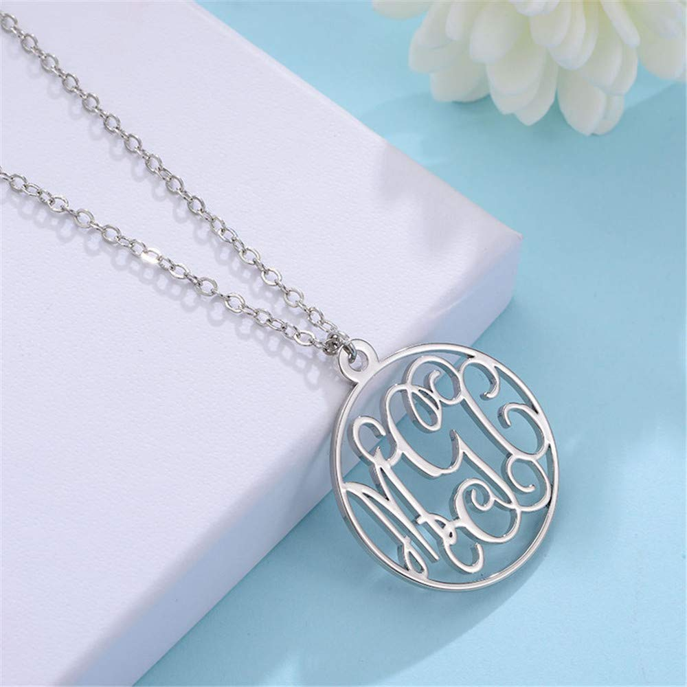Circle Monogram Necklace  925 Sterling Gold Plating 3 initial nameplate - Favetsy