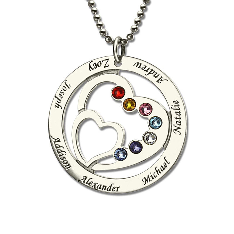 Heart Birthstone necklace Family Name Personalized Mother Necklace Birthstone 925 Sterling Silver - Favetsy