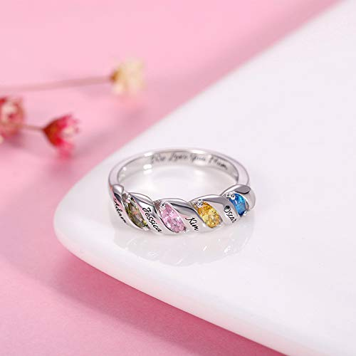 Personalized Engraved 4 Names Birthstone Promise Ring 925 Sterling Silver Favetsy - Favetsy