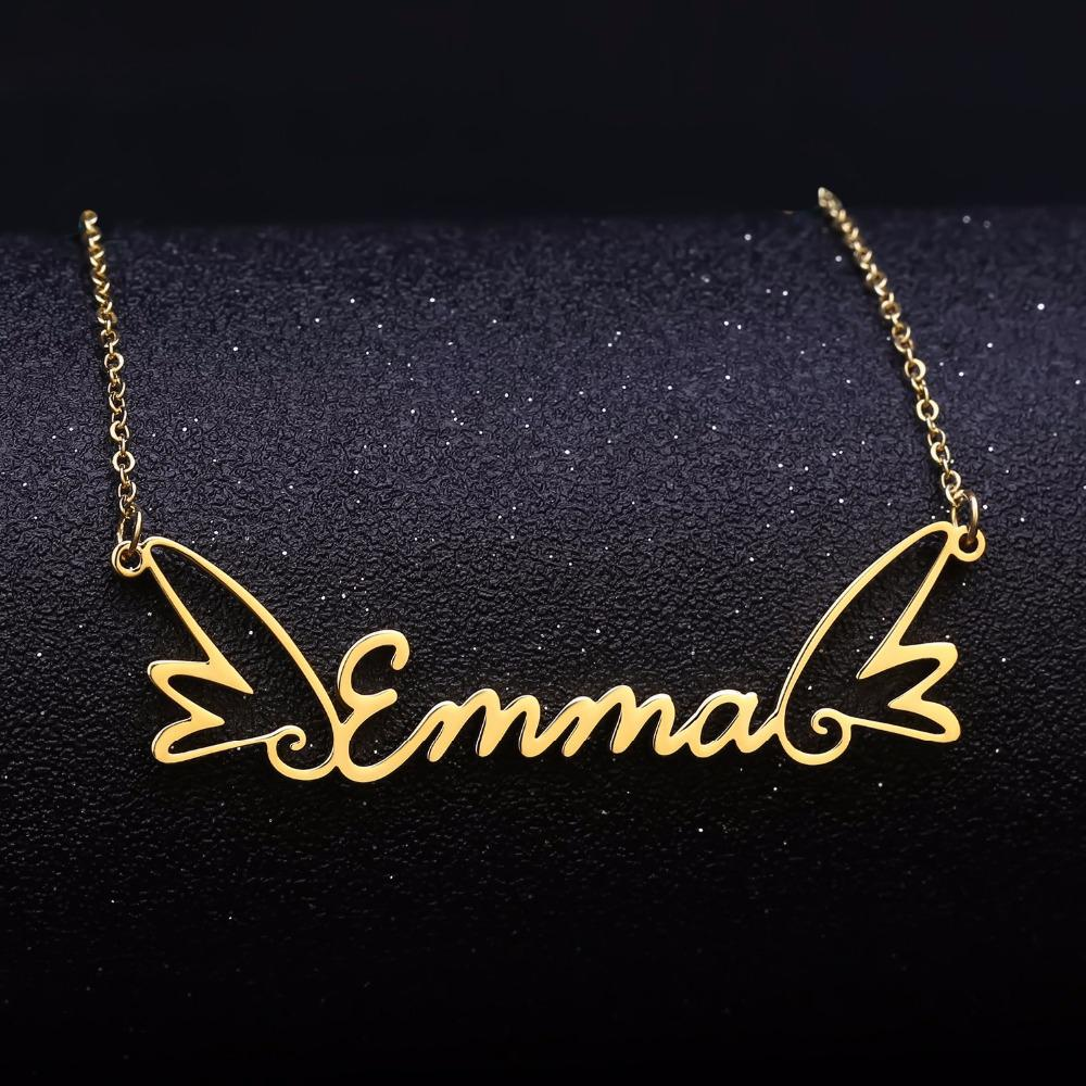 Angel Sterling Silver Personalized Name Necklace - Custom Made Jewelry Gift Favetsy - Favetsy