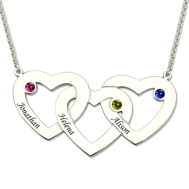 Birthstone Heart Necklace Women Silver Three Intertwined Hearts 3 Love Heart Pendants Chain Gift for Mom - Favetsy