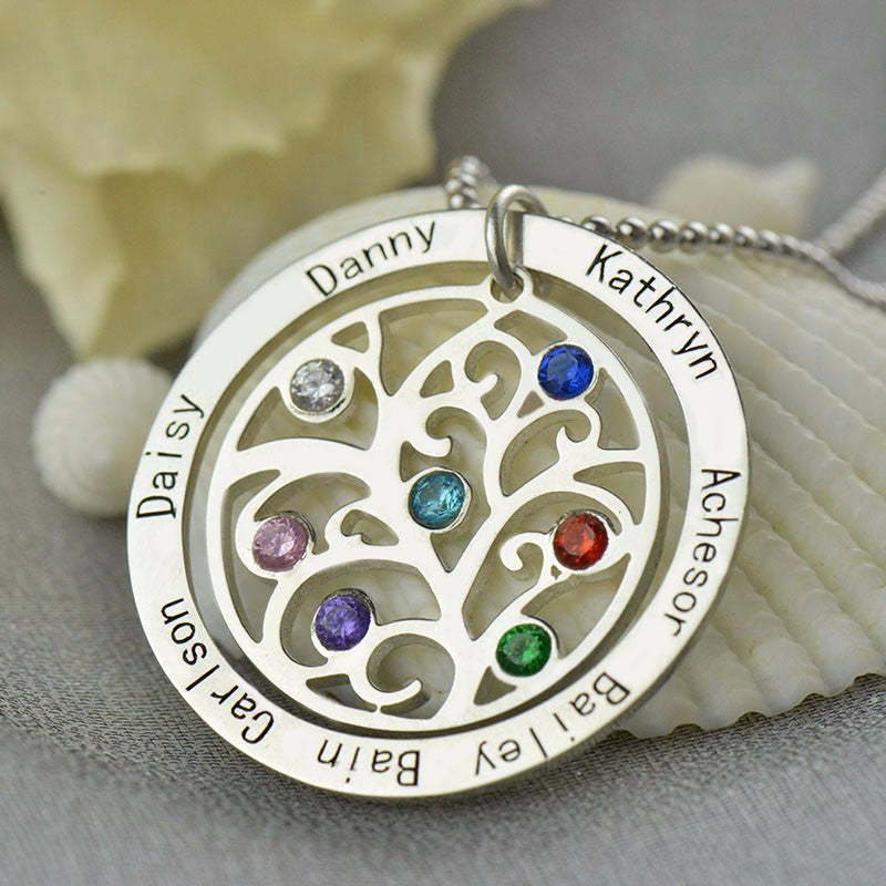 Personalized Family Tree Birthstone Necklace Pendant Necklace 925 Sterling Silver Nameplate Jewelry Favetsy - Favetsy
