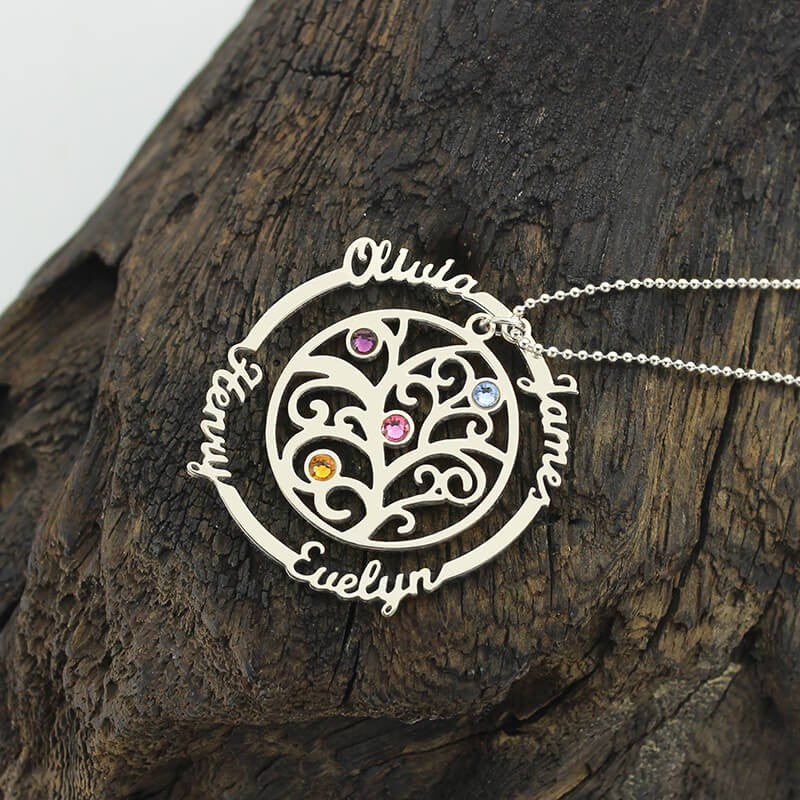 Family Tree Necklace Custom Name Birthstones Pendants Silver 925 Necklaces Jewelery for Mom Grandmother Favetsy - Favetsy