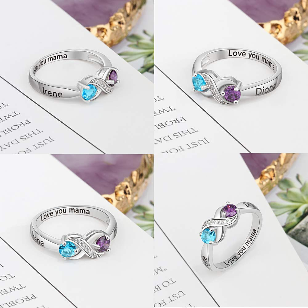 Personalized Infinity Birthstone Rings Simulated Engraved Name Mothers Jewelry Rings Favetsy - Favetsy