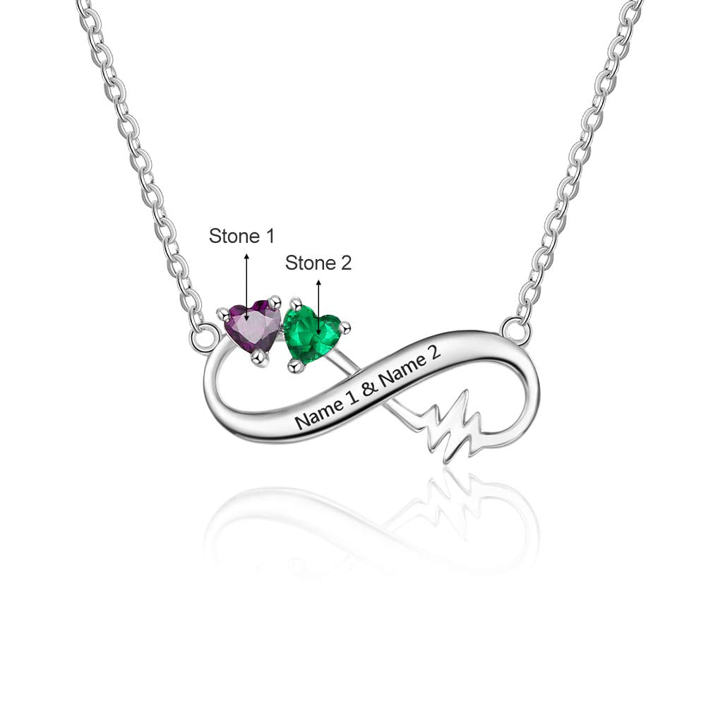 Personalized Infinity Pendant Necklace with Simulated Birthstone Silver with Simulated Birthstone Jewelry Gift-Favetsy - Favetsy