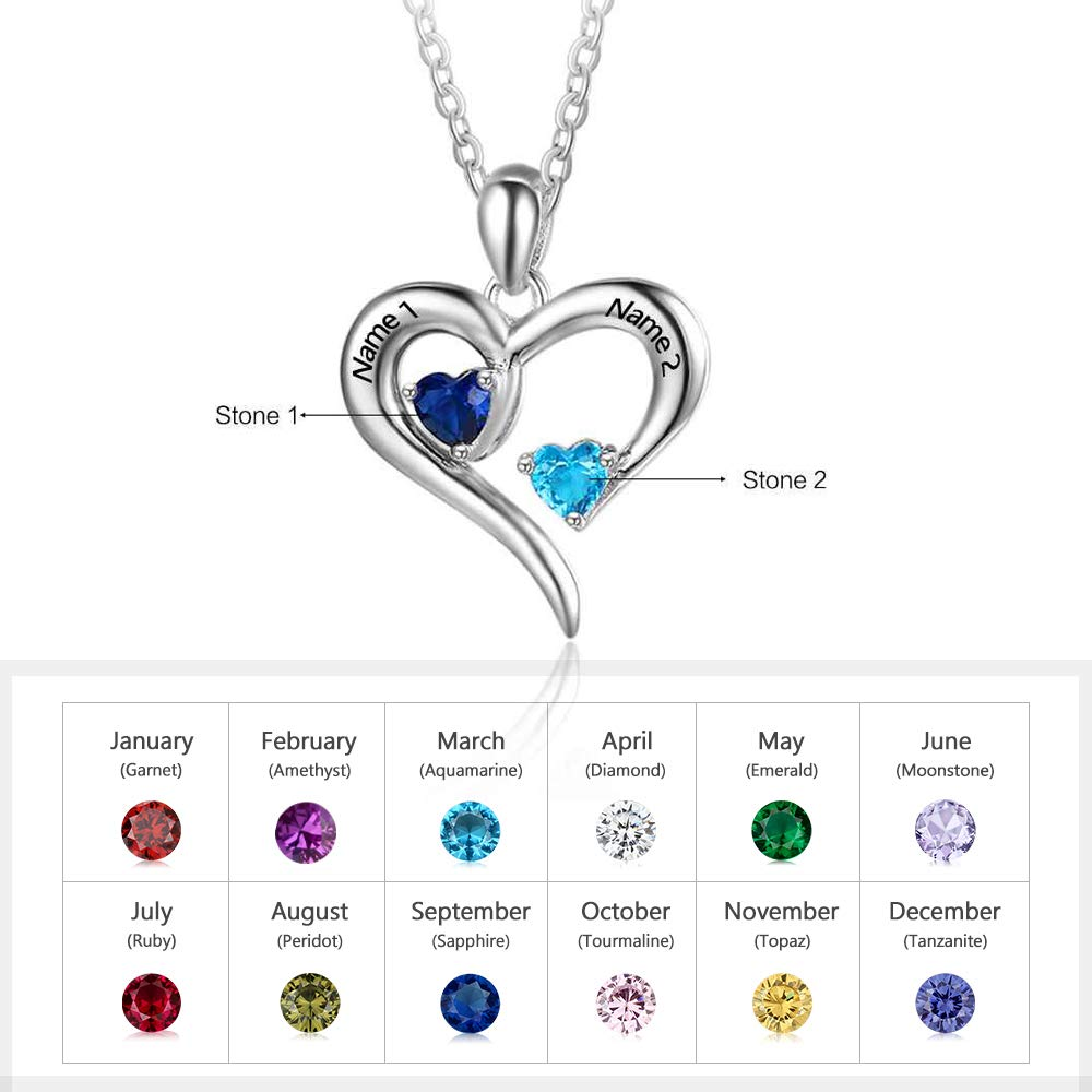 Personalized 925 Sterling Silver necklace Silver with Simulated 2 Birthstone Jewelry Gift-Favetsy - Favetsy