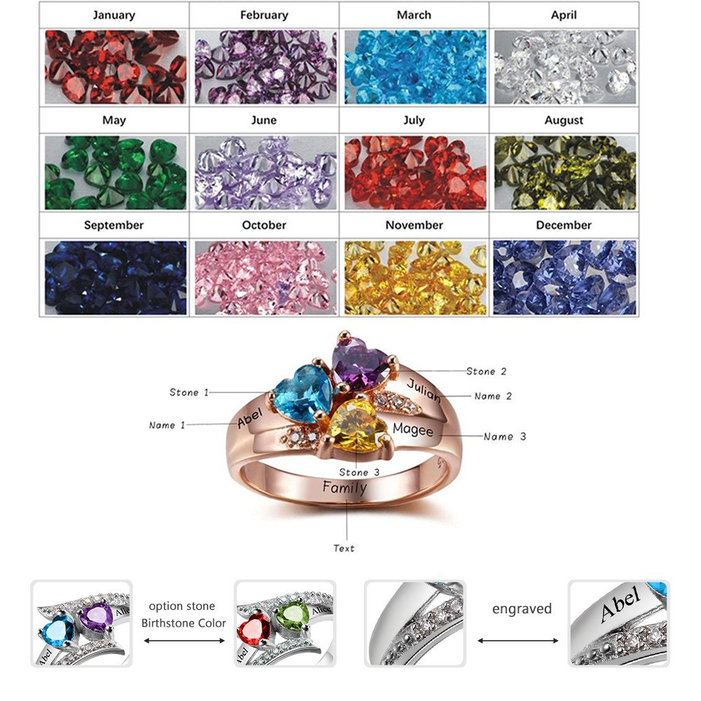 Personalized Birthstone Rose Rings Simulated with Childrens Names Engraved Family Promise Gift Favetsy - Favetsy